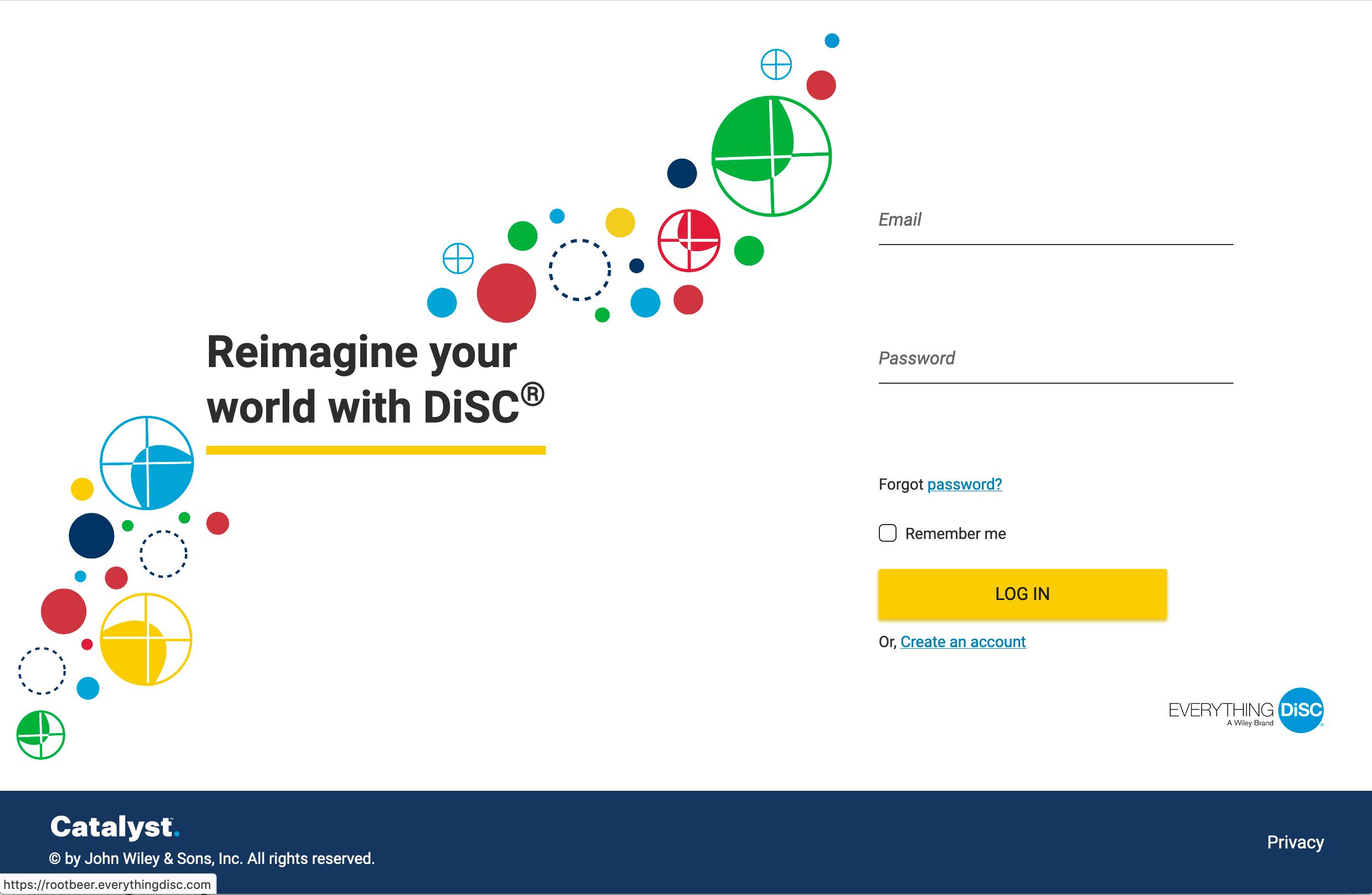 Catalyst login screen disc partners