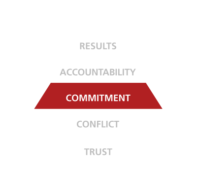 five behaviors of a cohesive team triangle commitment disc partners