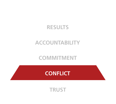 five behaviors of a cohesive team triangle conflict disc partners
