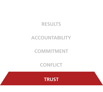 five behaviors of a cohesive team triangle trust disc partners